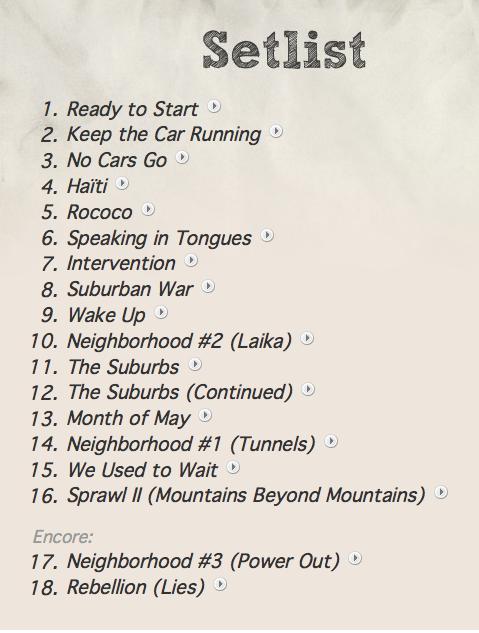 Arcade Fire Concert Setlist At Edinburgh Castle  Edinburgh On September 1  2011