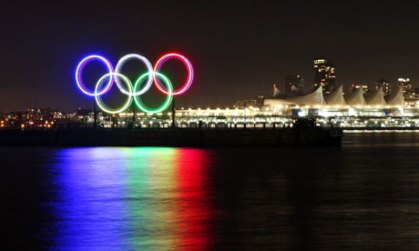 Olympic rings over river